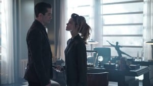 "GOTHAM: (L-R) Theo Galavan (James Frain) and Barbara (Erin Richards) in the Rise of the Villains: ""Knock, Knock"" episode of GOTHAM airing Monday, Sept. 28 (8:00-9:00 PM ET/PT) on FOX. ©2015 Fox Broadcasting Co. Cr: Nicole Rivelli/FOX."